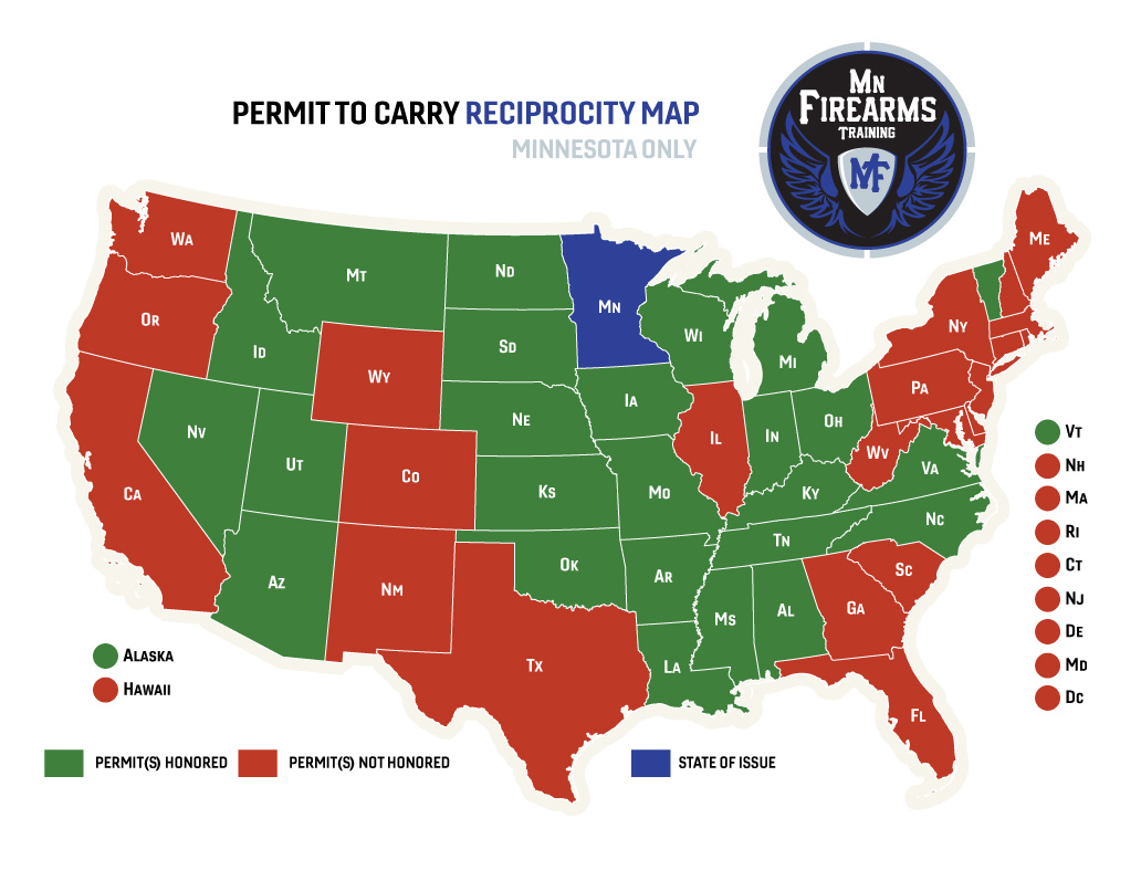 iowa ccw reciprocity map Permit To Carry Maps Mn Firearms Training iowa ccw reciprocity map