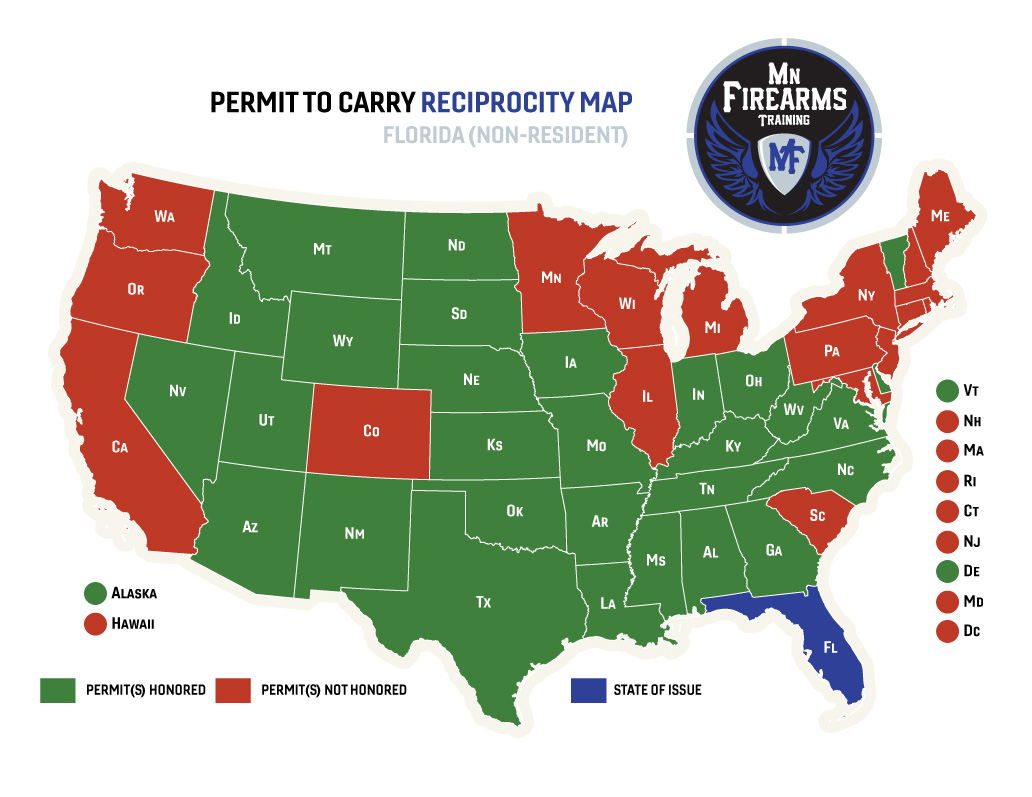 louisiana concealed carry reciprocity map Permit To Carry Maps Mn Firearms Training louisiana concealed carry reciprocity map